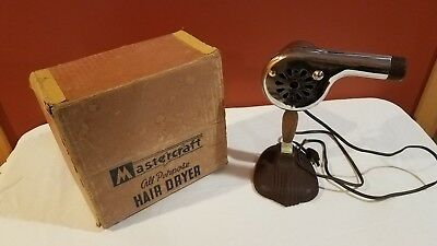 Vintage All Purpose Hand Held Hair Dryer in Original Box, with Stand-works