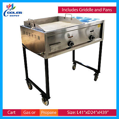 "36"" Taco Cart Griddle Steam Table Wheels Propane Stratus Plancha Cooler Depot"