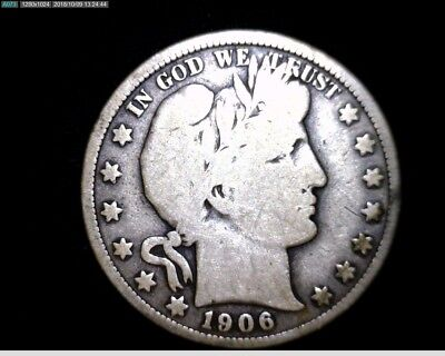 1906 O  Silver Barber Half Dollar Circulated #LT376