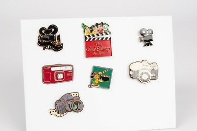 Lapel pin lot of 7 with camera and Disney clapperboard cine shapes