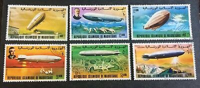 6 nice old canceled stamps Zeppelin Airships Mauritanie