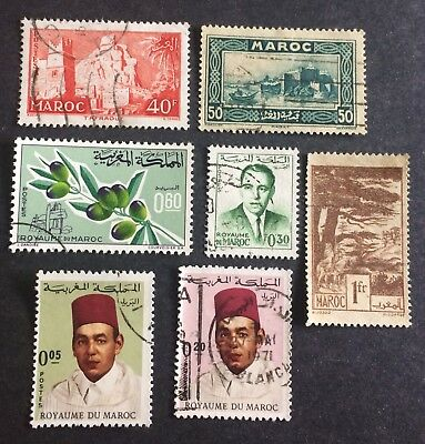 7 nice old stamps Morocco Maroc