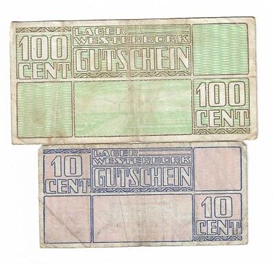 NETHERLANDS 10 and 100 Cent 1944 Lager Westerbork (campmoney) - Joelnumismatics