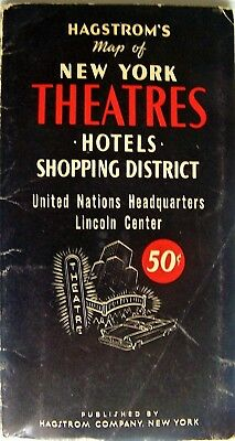 Hagstrom Pocket Map Of New York Theaters, Hotels, Shopping District - Circa 1975