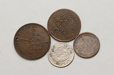 German States 4 Old Coins With Silver A98 Xi-40