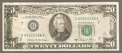 ERROR 1996 $20 Bill Federal Reserve Note, Back Print on Front, Mint