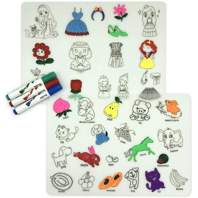 Kids Coloring Placemats Doodle Fun Pad Washable and Reusable Silicone Table Mat