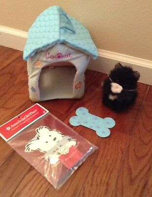Lot American Girl Doll Licorice Cat Coconut Doghouse Rug New Collar Set Pet
