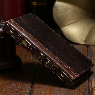 iPhone XS Max 7 8 Plus Antique Leather Card Flip Wallet Retro Vintage Book Case