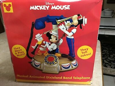 Disney Mickey Mouse Dixieland Band Animated Figurines Phone Telephone- New