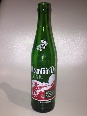 """Vintage """"RARE"""" Mountain Dew Bottle """"Filled By Ed And Gene"""" 10oz"""