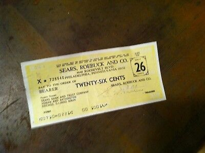 x-72 VINTAGE SEARS AND ROBUCK AND CO.  REFUND CHECK