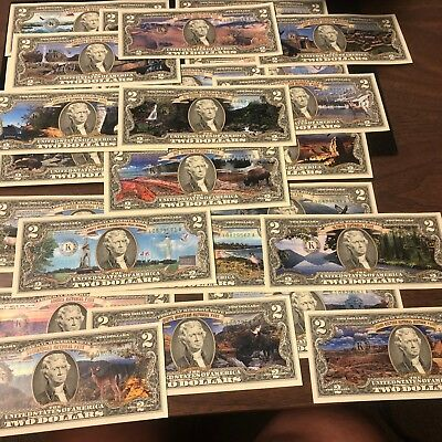25 National Parks Two Dollar Bills Collection - All Uncirculated, Genuine Enhanc