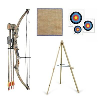 Archery Compound Bow and Arrow 55lb Adult Package Arrows Target & Stand (Camo)