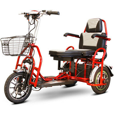 eWheels EW-02 Folding Electric 3-Wheel Mobility Scooter - 2 Passenger - Red, New