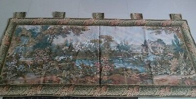 """Antique19c Aubusson French Tapestry Beautiful Color River View 36""""x82""""(Cm92X208"""