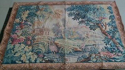 "Antique 19c Aubusson Style French Tapestry 36""x55""(CCm92x140)) l Colorful View"