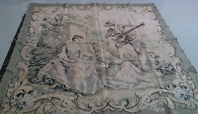 "Antique 19c Aubusson English style  Tapestry 50""x50""(cm127x127) Beautiful real"