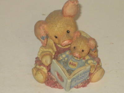 This Little Piggy by Enesco Figurine 1994 Numbered NO Box Reading Book to Child