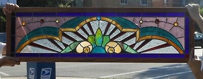 """Architectural Salvage—Victorian Stained Glass Window, Fully Restored, 51"""" Wide"""