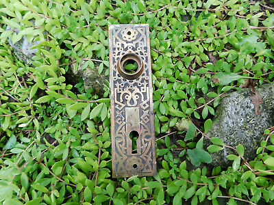Antique Vintage Door Knob Plate Escutcheon With Skeleton Key Hole-Very Ornate
