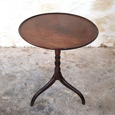 Georgian Mahogany Dish Top Tripod Wine or Side Table C18th (George III Antique)