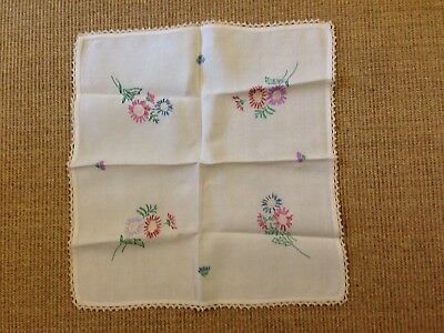 Vintage Hand Embroidered Small Square Table Cloth/ Table Centre.