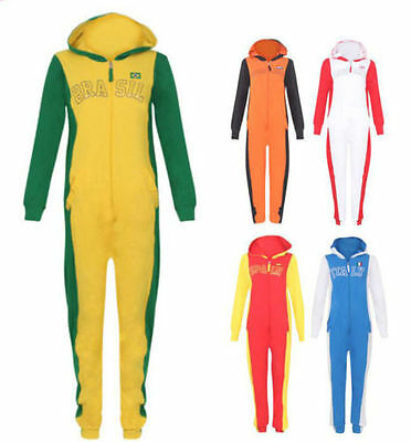 Kids Colour Boys Girls Hooded Zip All In One Jumpsuit Children Football
