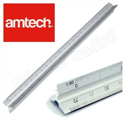 "Pro 12"" 300mm Triangular Aluminum Tri-Scale Metal Ruler Architect Engineer"