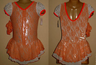 6-7y CHILD Ice Roller Skating Dress Majorette Orange Lace Dance Costume Leotard