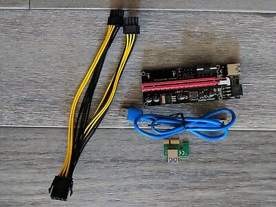 6-Pack PCIe Riser Mining Card PCI-E 16x to 1x Powered Riser Adapter Card LED +++