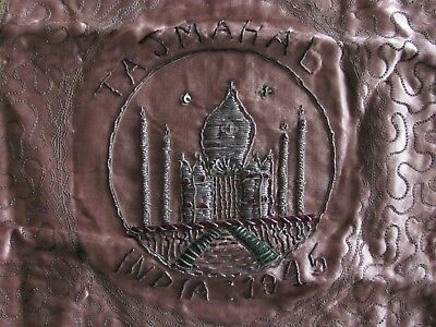 1945 WW2 Veteran Souvenir India Taj Mahal Embroidery Silk Panel WWII Green