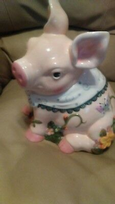 RARE Vintage Pink Sitting Pig Cookie Jar by Mercuries from 1980's HARD TO FIND