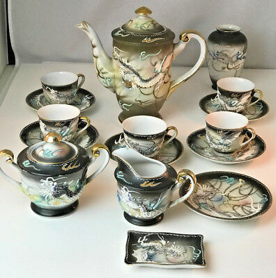 Vintage Nikoni China Japan Black Dragon Ware 18 PC Tea Set Hand Painted