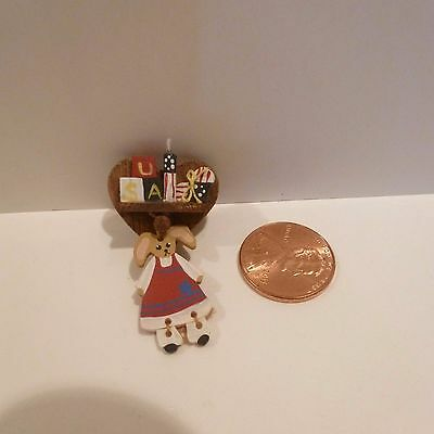 Miniature Heart Shaped Wall Shelf With Hanging Wood Bunny