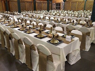 """175 Burlap 6""""x108"""" Chair Cover Sashes Bows Natural Jute Wedding Event SALE USA"""