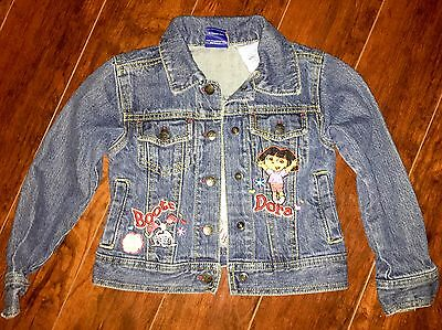 GIRLS Dora The Explorer Denim JACKET COAT Size 5 Vintage boots