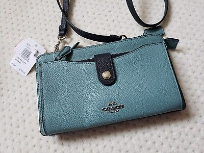 NWT Coach Colorblock Pop Up Messenger Clutch Pebbled Leather Marine Multi 28337
