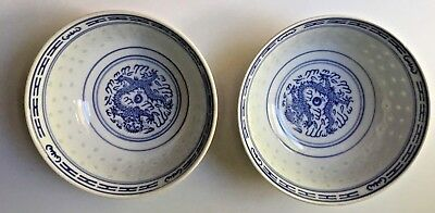 Chinese Dragon Artistic Blue White Porcelain 2 Rice Soup Cereal Bowls