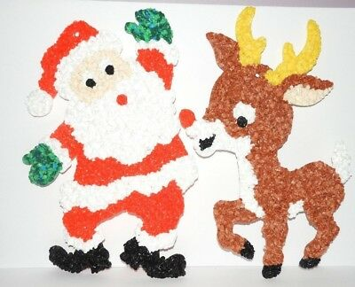 Vtg Melted Plastic Christmas Popcorn Santa Claus Reindeer Wall Decoration