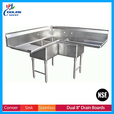 NSF Commercial Stainless Steel 3-Compartment Corner Sink w/ 2 Drainboards NEW