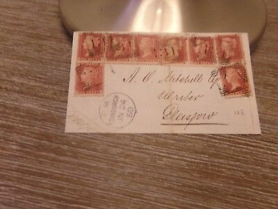 Great Britain franked 8 penny reds on cover.  1859  RARE multiple on cover.