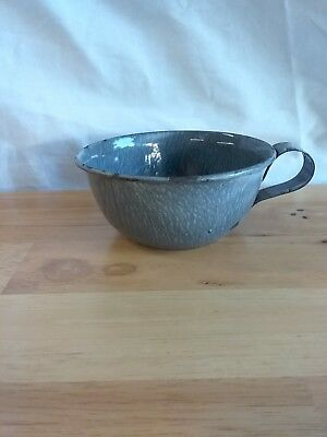 Antique Gray Graniteware Small Cup With Handle
