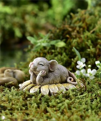 Miniature FAIRY GARDEN Figurine ~ Mini Mouse on Flower ~ Dreamin' of You