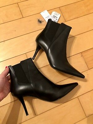 efcd82f9457 New w Tags Zara High Heel Stretch Leather Black Ankle Boots 39 8 9 8.5 1114