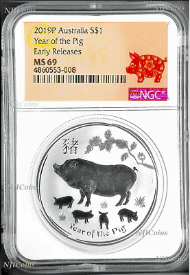 2019 P Australia Silver Lunar Year of the PIG NGC MS 69 1 oz Coin ER Last in SII
