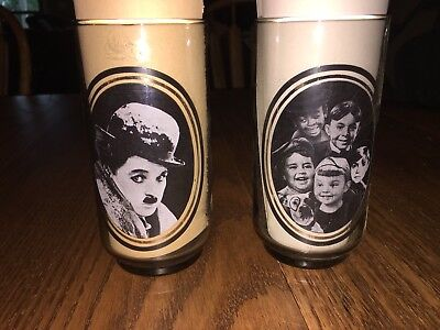Vintage 1979 Arbys Collector's Series Glasses - Charlie Chaplin & Little Rascals