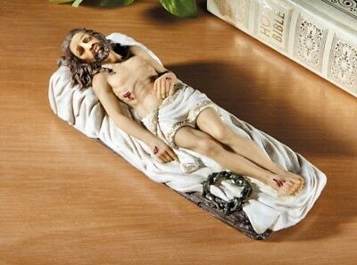 Jesus Statue 8 inch Crucified Dead Saviour Lord Christ Easter Lying Down Wounds