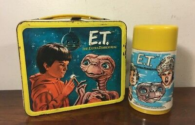 Vintage 1982 Aladdin ET Extra Terrestrial Metal Lunchbox W Thermos Phone Home