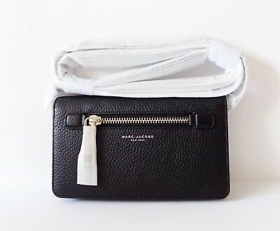 1bb42ad671ef NWT Marc Jacobs Gotham Pebbled Leather Crossbody Wallet ~ Black ~ M0008464